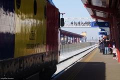 Trenul Unirii sosind in Vaslui